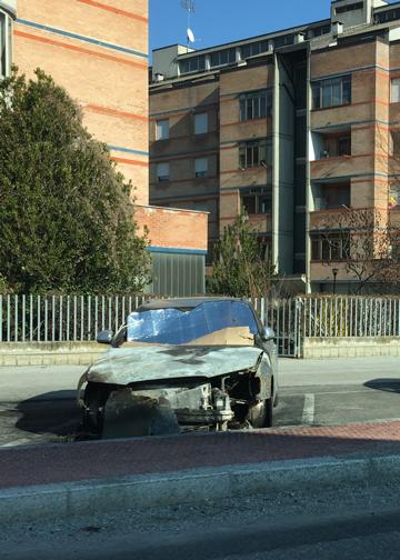 Auto bruciata a Cerialdo