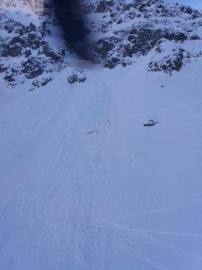 Il luogo della tragedia il Caire dell'Agnel in alta valle Gesso, ben visibili le tracce degli sci dove erano passati i quattro francesi
