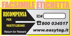 Etichetta Easy Tag - Fac simile