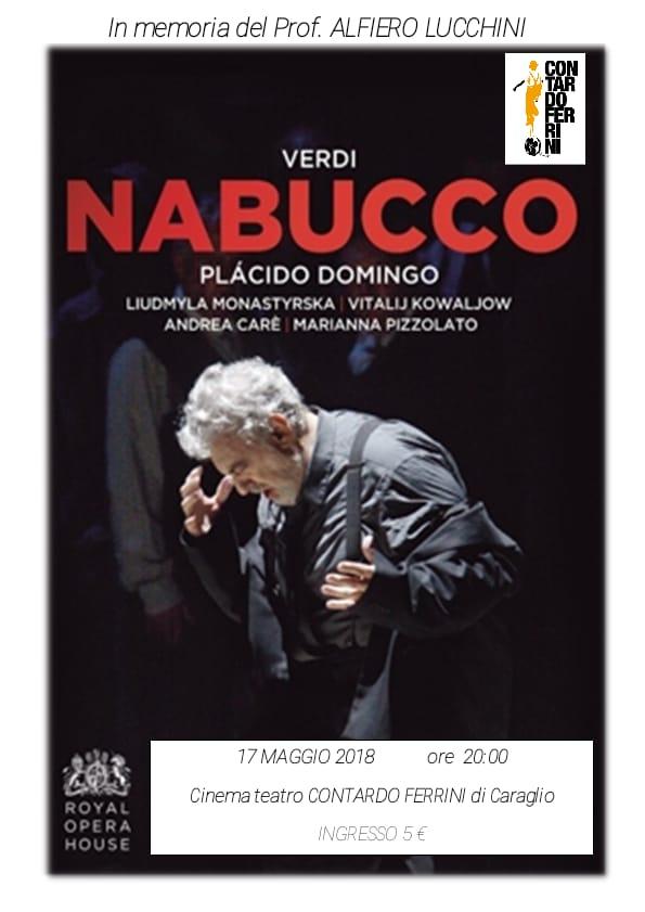 """La locandina che pubblicizza il """"Nabucco"""" di Giuseppe Verdi al cinema Ferrini"""
