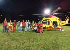 La Guida - Primo volo in notturna dell'elisoccorso a Venasca