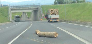 La Guida - Camion perde tronchi sull'Est-Ovest