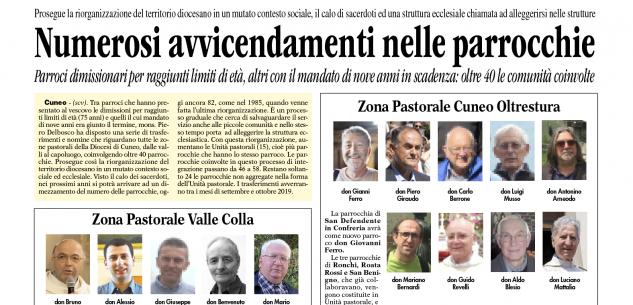 La Guida - Cambi e nuovi parroci in 40 comunità della diocesi di Cuneo