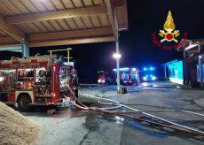 La Guida - Frassino, incendio nella notte per un deposito di cippato