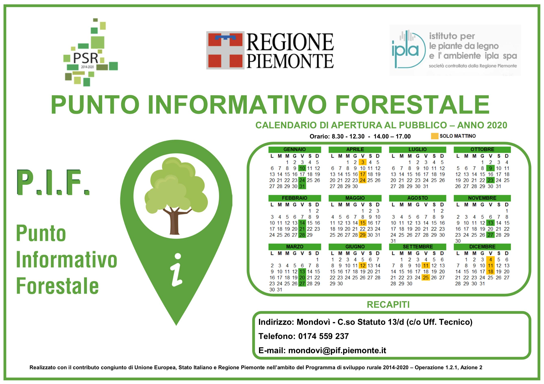 Calendario Punto Informativo Forestale