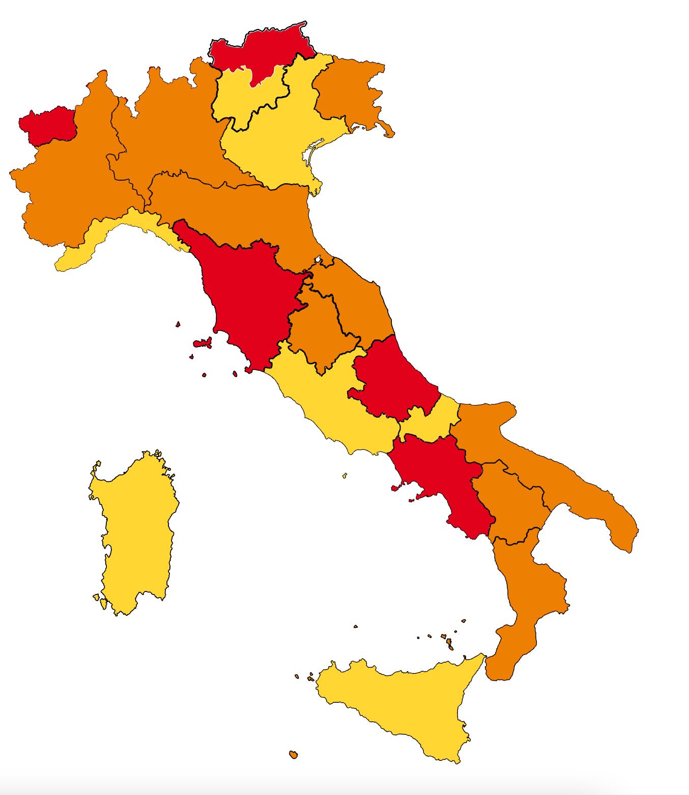 Piemonte zona arancione