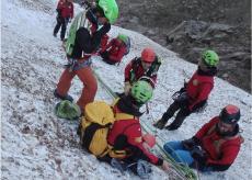 La Guida - Esercitazione del Soccorso Alpino di Cuneo in Valle Gesso
