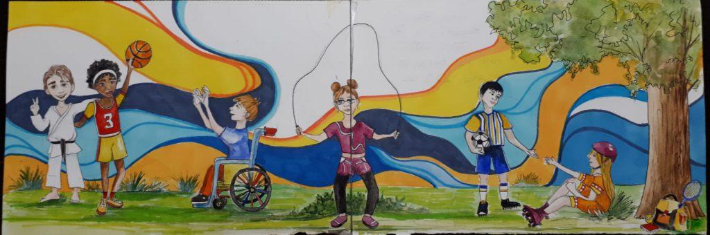 murale colorato con bambini che giocano