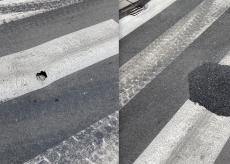 La Guida - Buco tappato pericolo scampato: intervento in via Coppino sull'asfalto nuovo